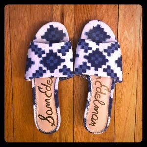 Sam Edelman blue and white wedge slip on sandal
